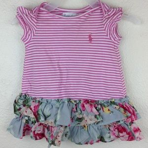 🛍 Ralph Lauren Baby Dress 3M Pink Stripe Floral